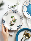 Small Japanese hand-painted ceramic plate kiln cooking household dishes personality blue and white dessert plate fruit salad plate