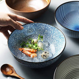 Japanese ceramic soup noodle bowl, beef noodle bowl and noodle foam noodle salad bowl