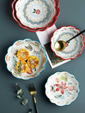 Lovely hand-painted lace ceramic bowl &salad bowl&baking tools and accessories&Kicthen&Desserts fruits &soup bowls& rice bowls,&can be into the oven andmicrowave