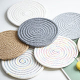 grocery hand-woven cotton pads dishes eat mat anti hot pot cup mat thread thickening insulation pot holder  table cloth barang dapur kitchen accessories kitchen tools(1pc)
