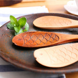 Japanese-style wooden rice spoon solid wood fish shape rice shovel creative cute