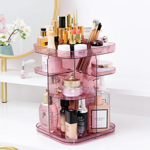 Fashion Home 360 Degree Rotate Cosmetic Makeup Storage Box Makeup Organizer Box Rotating Plastic Adjustable Rack