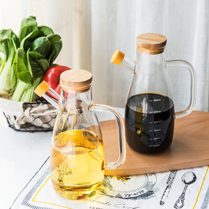 Glass leakproof sealing oil pot with cover soy sauce vinegar bottle high borosilicate heat resistant kitchen groceries seasoning bottle