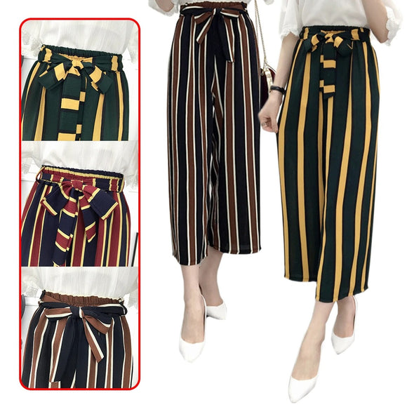 KOREAN FASHION Women's Chiffon Loose High Waist Casual Spring Summer Stripe Pants with Belt