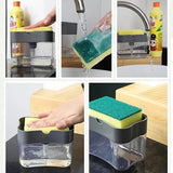 Sponge & Dishwashing Soap Container Holder Press Dispenser