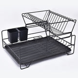 2 Tier Black Carbon Nordic Style Stainless Steel Dish Rack Dish Drainer Kitchen Organizer With Chopstick Holder And Drains Plate