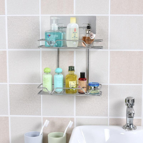 2 Tiers Stainless Wired Mesh Bathroom Shelf Kitchen Organizer with Self Adhesive Function