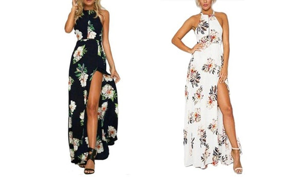 Stylish Side Split Printed Maxi Dress For Autumn Casualwear