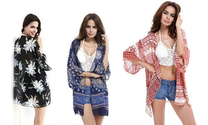 Boho Printed Lightweight Kimono in a Choice of Colour for Summer Casualwear