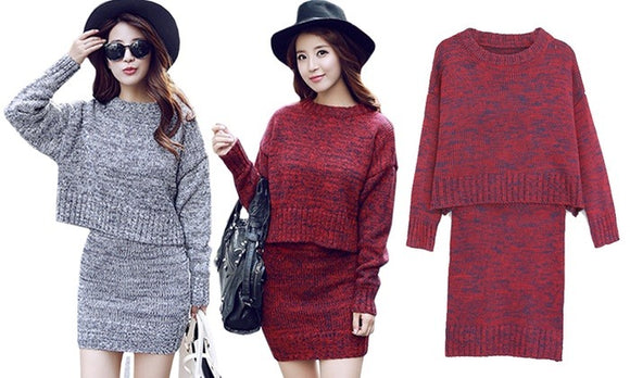 Fashion and Stylish Two-Piece Sweater Dress For Winter Casualwear (100%Polyester)