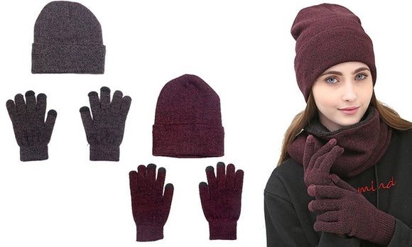Comfortable Beanie and Gloves Set For Winter Casualwear