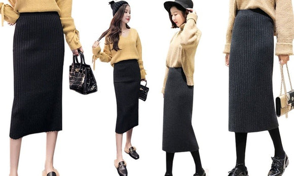 Fashion and Stylish Knitted Midi Skirt for Autumn Casualwear