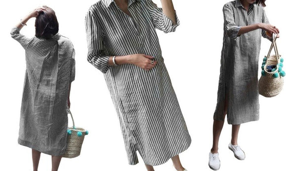 Stylish Women's Oversized Striped Dresses For Casualwear