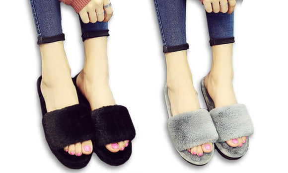 Comfy And Cute Fluffy Slip-On Shoes For Indoor Activity Uses