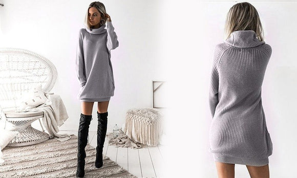 Stylish Turtleneck Knitted Mini Dress For Winter Casualwear