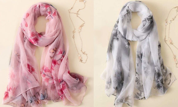 Stylish and Fashion Printed Silk-Like Scarf For Winter Casualwear