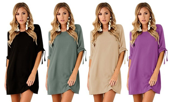 One Piece Stylish Tie Sleeve Shift Dress For Spring Casualwear