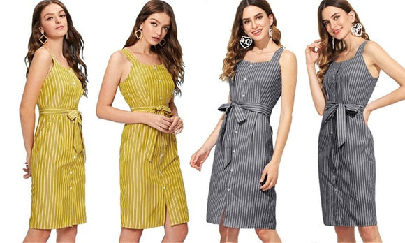 Fashion and Stylish Striped Sleeveless Dress For Half Occasional Wear