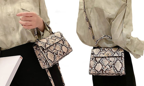 Fashion and Convenient Crossbody Snake Pattern Printed Handbag