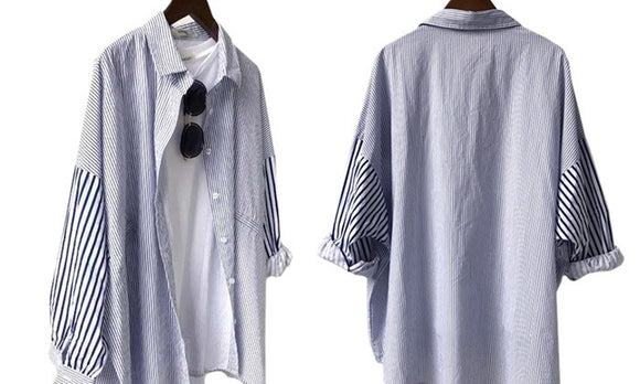 Stylish Striped Long Sleeve Loose Shirt For Daily Casualwear