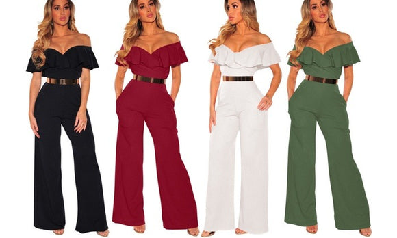Stylish Off-Shoulder Frill Jumpsuit For Spring Casualwear
