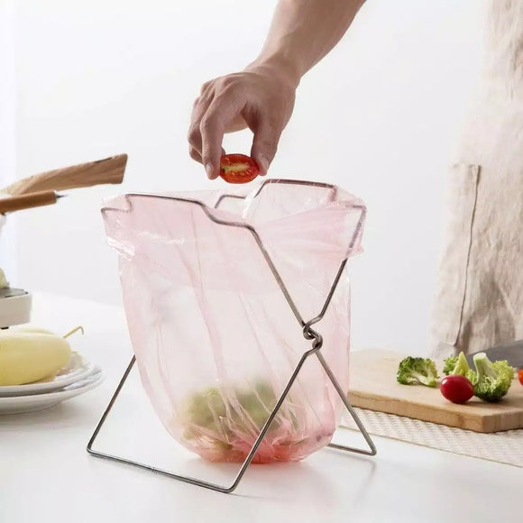 Stainless Steel Garbage Bag Rack Rubbish Bags Holder Foldable Kitchen Organizer