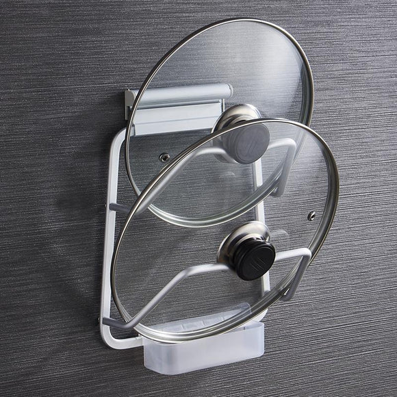 Aluminium Lid Holder Hanging Rack Kitchen Storage with Water Collector Wall Mounted