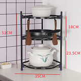 Solid Black 3 Tiers Stainless Steel Kitchen Rack Storage Pan Pot Organizer Rack Stand Storage Rack
