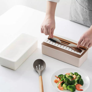 Cutlery Box with Lid Kitchen Plastic Drain Storage Box Household Noodle Storage Box Chopsticks Tube