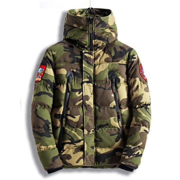 2020 new winter warm casual down jacket men's cotton thick camouflage jacket
