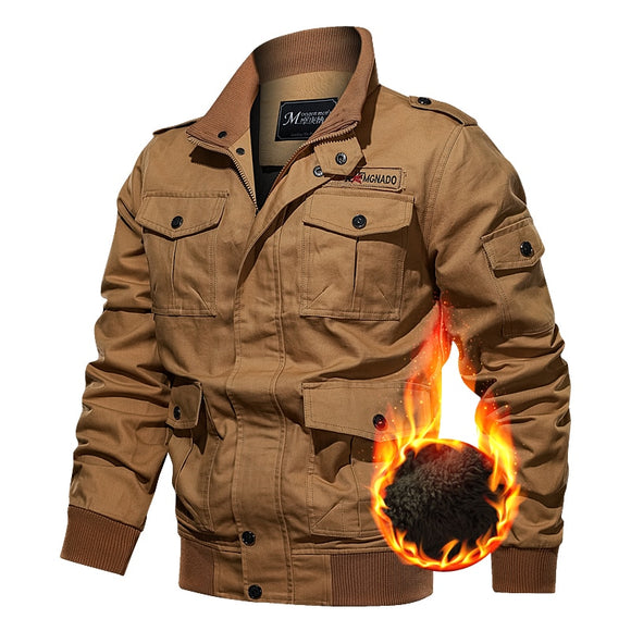 Men Winter Windproof Warm Jacket Fleece Thicken Tactical Military Jacket Multiple Pockets Casual Cotton Coat Male Clothing