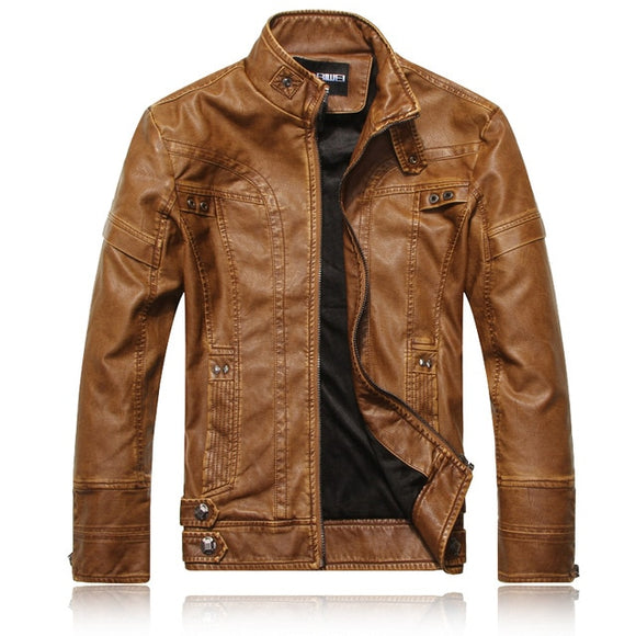 Leather jacket men's leather clothing European and American fashion Slim men's motorcycle PU leather jacket plus velvet leather
