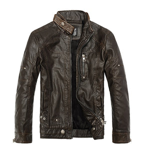 men's motorcycle leather jacket European style leather jacket stand collar plus velvet men's leather jacket