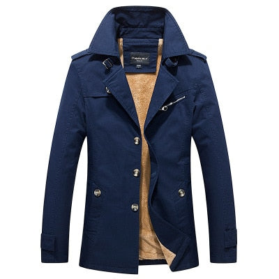 2020 new winter men's casual jackets plus velvet thick cotton trench coat jacket men's jacket