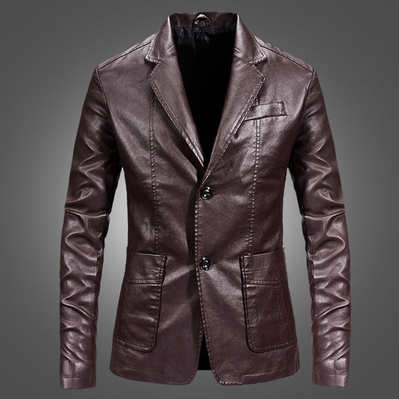 Brand PU Leather Jacket Men Autumn Casual Zipper Mens Motorcycle Leather Jacket Winter Male Slim Fit Coat Plus Size 4XL 2019