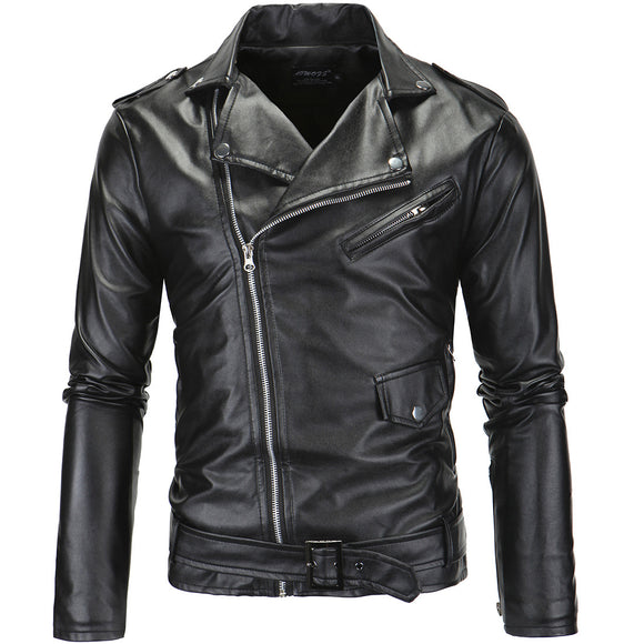 Spring Autumn Motorcycle Leather Jacket Men Slim Fit Oblique Zipper PU Jacket Men's Leather Jackets