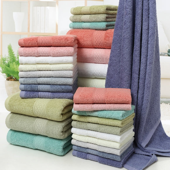 Long-staple Cotton 12-Color Set Towel Bath Towel Kerchief Three-piece Set Gift Covers Pure Cotton