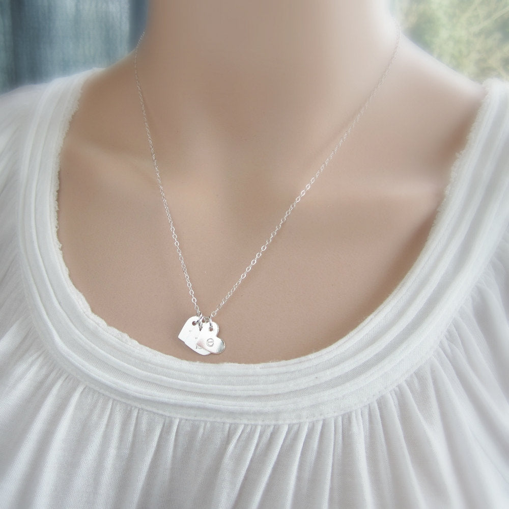 Mothers necklace sterling silver initial necklace childrens gift for her initial necklace personalized mothers necklace with childrens initials silver initial heart necklace aloadofball Images
