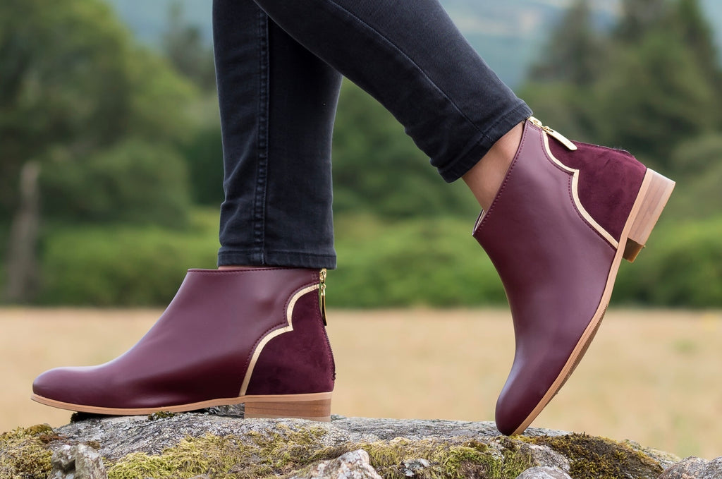 Azalee Vegan Booties in Burgundy