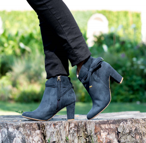 Dionysus Heeled Booties in Black
