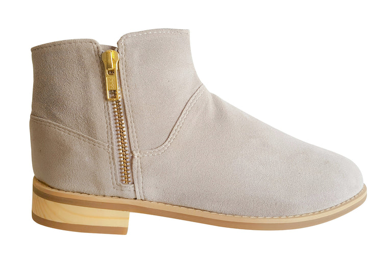 Zip-Up Bootie in Stone