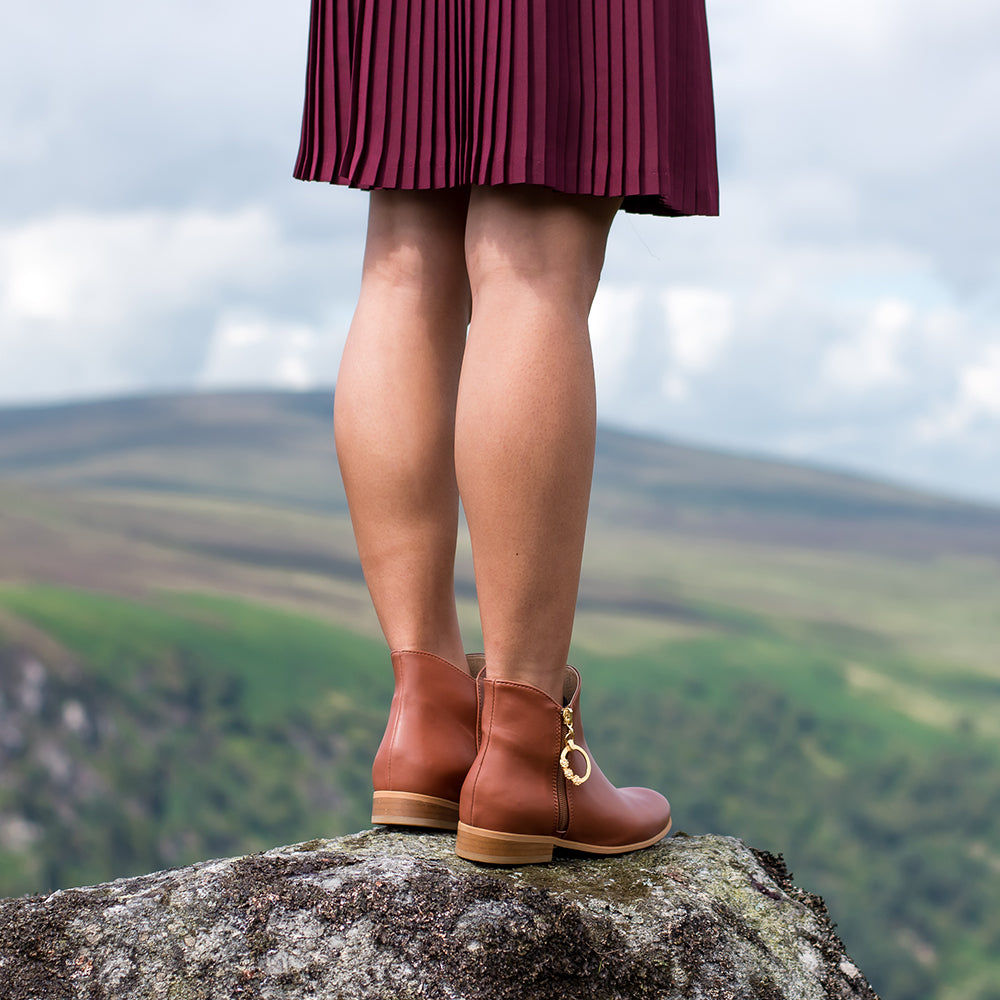 Sakura Vegan Booties in Chestnut
