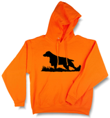 Bird Dog Silhouette, Upland Hunting Blaze Orange Hooded Sweatshirt
