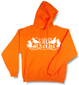 """Covey Busters"" Quail Hunting Blaze Orange Hooded Sweatshirt - Modern Wild"