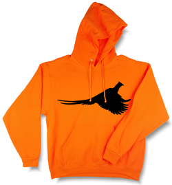 Rooster Pheasant Profile Upland Hunting Blaze Orange Hooded Sweatshirt - Modern Wild