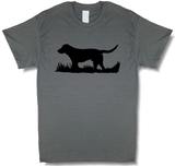 Bird Dog Profile Upland Hunting Charcoal Gray w/ Black Design Short Sleeve T-shirt - Modern Wild
