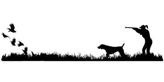 Lady Hunter German Shorthair Pointer Bird Dog, Quail Rise Upland Hunting Scene Decal