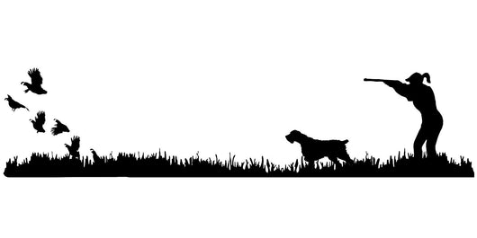 Lady Hunter Wirehair Bird Dog, Quail Rise Upland Hunting Scene Decal
