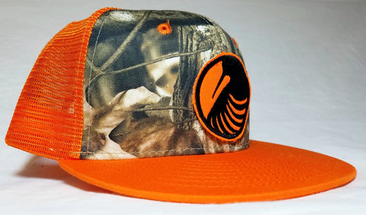 Woodcock Graphic Logo Patch, Orange and Camo Trucker Flatbill Upland Hunting Cap - Modern Wild