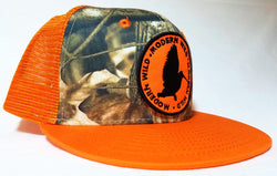 Modern Wild Woodcock Logo Patch, Orange and Camo Trucker Flatbill Cap - Modern Wild